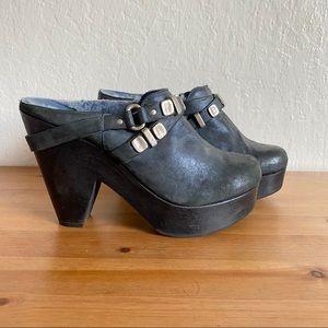 Bernardo Blue Clogs Shearling Lined Heels